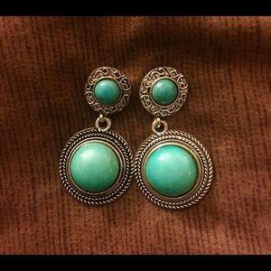 Turquoise Round Bohemian Drop Earrings